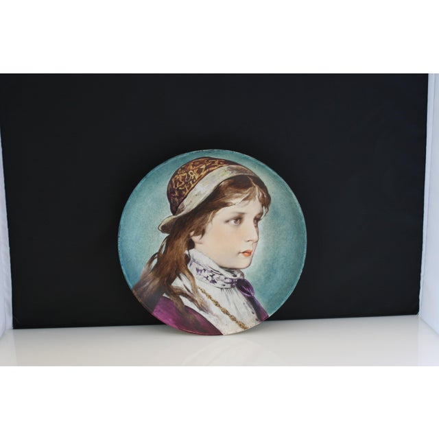 Antique Hand Painted Porcelain Portrait Plate Of A Young Woman By P.J. Ulrich. P.J. Ulrich was a small ceramics company...