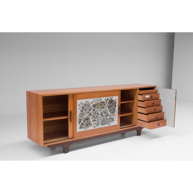 1950s Modernist Sideboard With Perignem Ceramic and Macassar Details For Sale - Image 5 of 12