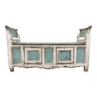 Fabulous 18th C French Painted Hall Bench With Storage For Sale