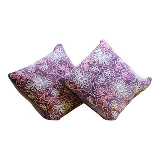 Anke Drechsel Hand Embroidered Iris Velvet Cushions - a Pair