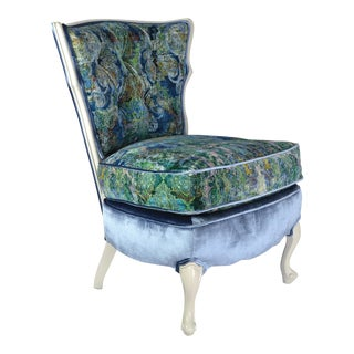 Upholstered Vintage Blue Velvet Slipper Chair For Sale