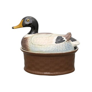 Vintage French Duck Baking Tureen For Sale