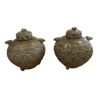 Rams Head, Lidded Earthenware Jars - a Pair For Sale