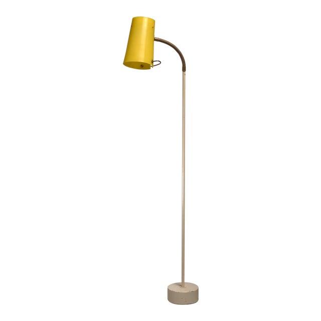 Scandinavian Modern Floor Lamp with Yellow Plexiglass Adjustable Shade, 1950s - Image 1 of 6