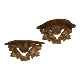 Italian Gilt Rococo Shell Wall Brackets - a Pair For Sale