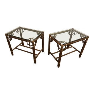 McGuire Marview Rattan Glass Topped End Tables, a Pair For Sale