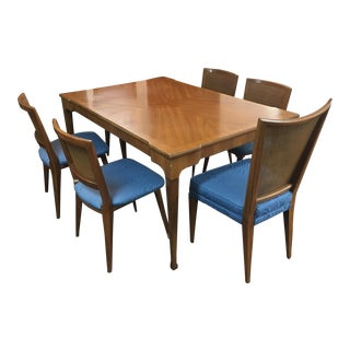 1970s Mid Century Modern John Widdicomb Dining Furniture- 6 Cane Chairs For Sale