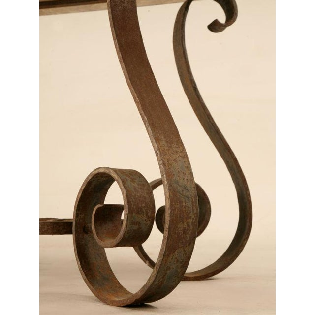 French Outstanding Vintage French '40s Iron & Stone Console/Sofa Table For Sale - Image 3 of 9
