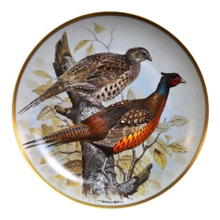 Franklin Limoges Porcelain Wall Plate Gamebirds Motif Limited Edition 1979 France Common Pheasant For Sale
