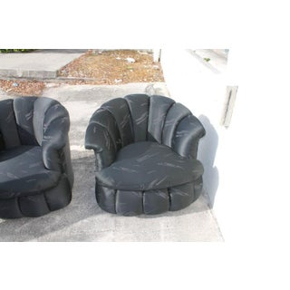 Vintage Tufted Hollywood Regency Swivel Chairs - a Pair Preview