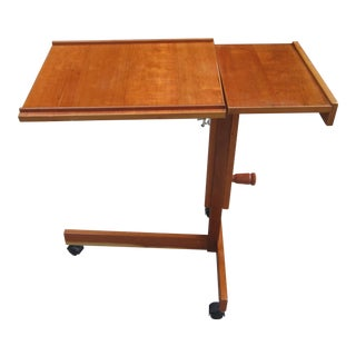 1970s Mid-Century Levenger Teak Rolling Adjustable Table For Sale