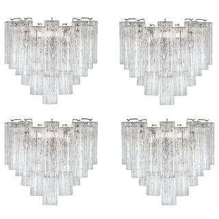 Two Pairs of Large Murano Tronchi Sconces, Circa 1970s For Sale