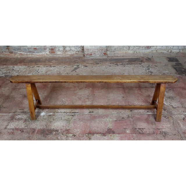 English Traditional 19th Century Antique Walnut Farm Bench For Sale - Image 3 of 11