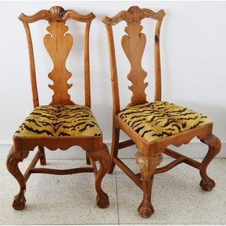 Italian Scalamandre Le Tigre (Tiger) Velvet Side Chairs - Pair Preview