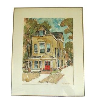 """1972 Vintage Doris Hoyt """"House"""" Watercolor Painting For Sale"""