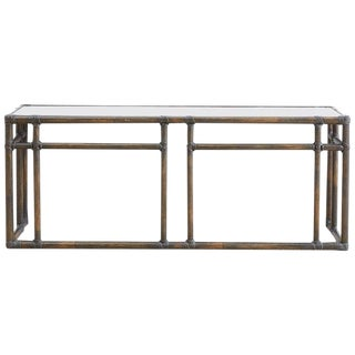 McGuire Bamboo Rattan Mirror Top Console Table For Sale