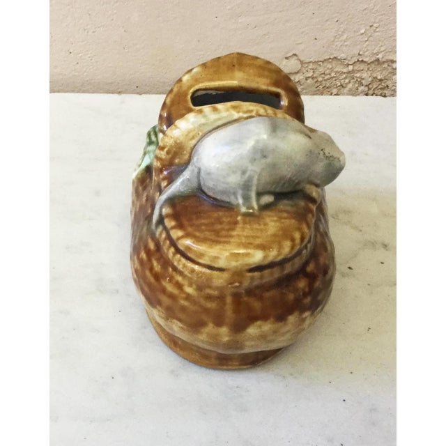 French Country Early 20th Century Antique Majolica Money Bank For Sale - Image 3 of 6