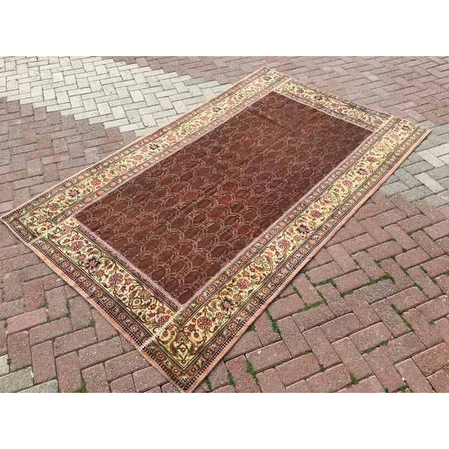 "Vintage Turkish Patchwork Rug - 5'5"" X 8'10"" For Sale - Image 4 of 11"