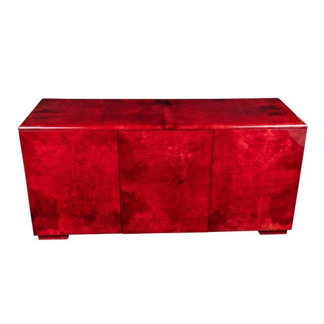 Red Rare Aldo Tura Goatskin Cabinet/Sideboard For Sale - Image 8 of 8