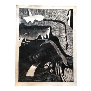 1986 Vintage Mark Zangara Abstract Collagraph Print