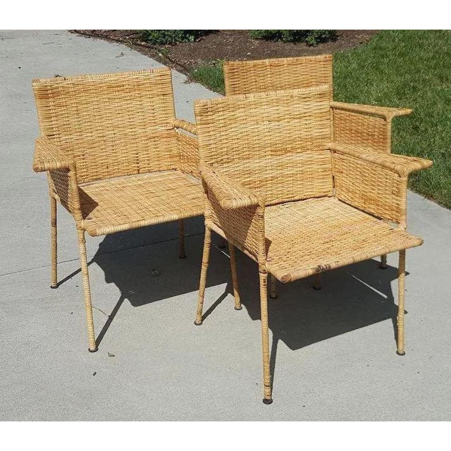 Mid-Century Modern Van Keppel and Green Wicker and Wrought Iron Chairs - Set of 3 For Sale - Image 3 of 11