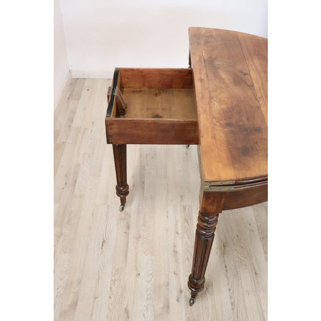19th Century French Walnut Demilune Table or Dining Table For Sale - Image 9 of 13