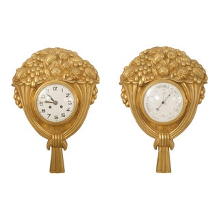 Pair of French Art Deco Gilt Bronze Wall Clock For Sale