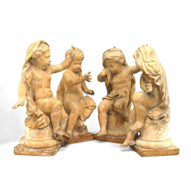 18th Century French Louis XVI Style Stripped Wood Life Size Putti - Set of 4 For Sale - Image 12 of 12