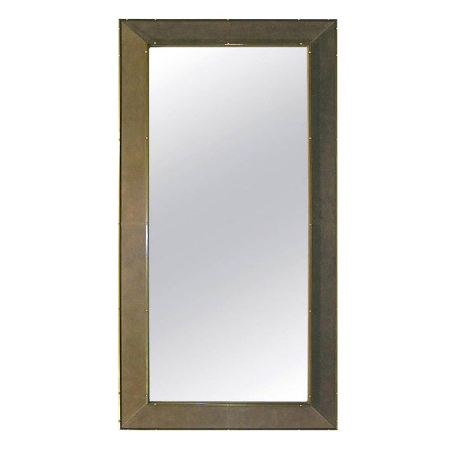 1970s Italian Suede Leather Floor Mirror With Modern Bronze Accents For Sale
