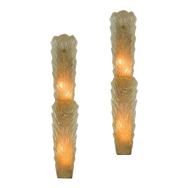 Pair of Large Gold Dust Murano Sconces For Sale