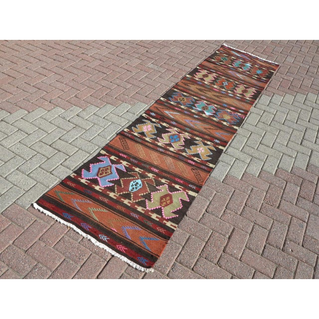 "Islamic Vintage Turkish Kilim Runner-2'6'x10"" For Sale - Image 3 of 13"