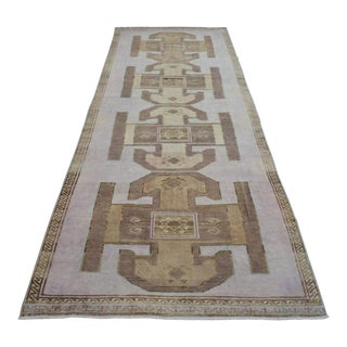 Hand Knotted Natural Colors Full Tribal Design Runner Rug Wide Long Runner - 5′8″ X 16′10″ For Sale