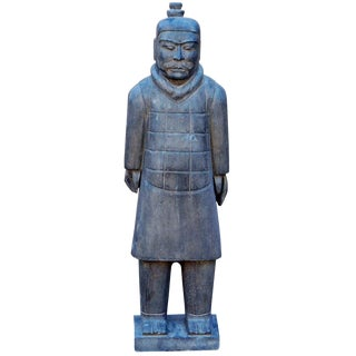 Chinese Stone Small Ancient Terracotta Soldier Warrior Decor Figure For Sale