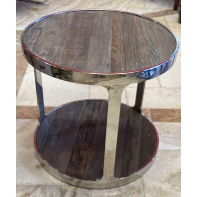 Contemporary Reclaimed Wood and Polished Chrome Accent Table For Sale - Image 3 of 10