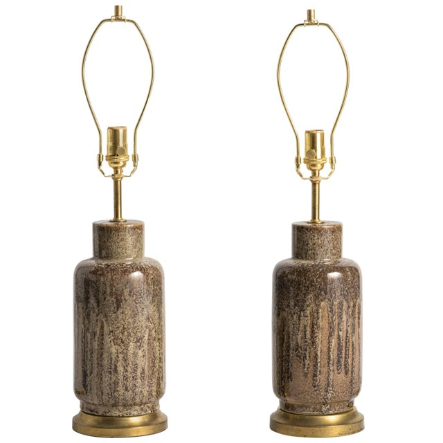 Metal Mid-Century Modern Brown Glaze Ceramic Lamps - a Pair For Sale - Image 7 of 7