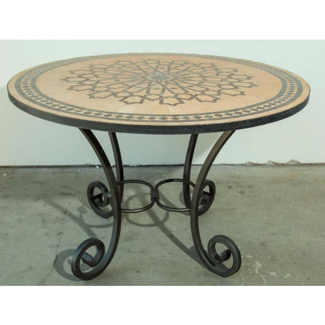 Moroccan Moroccan Mosaic Outdoor Tile Table in Fez Moorish Design For Sale - Image 3 of 11