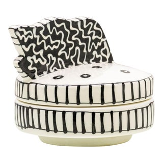 Postmodern Black and White Trinket Dish Signed For Sale