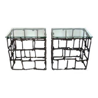 Pair of Rail Road Spike Side Tables with Glass Tops For Sale
