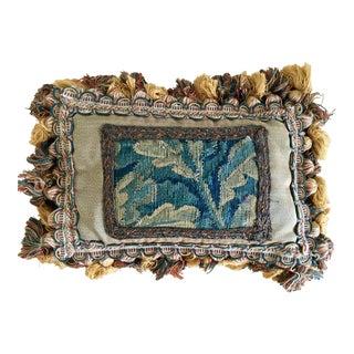 Vintage Lavender-Filled Tapestry Pillow For Sale