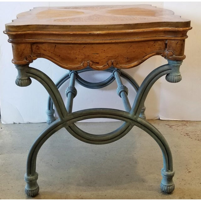 Italian 1990s Italian Burl Wood & Iron Side Table For Sale - Image 3 of 7