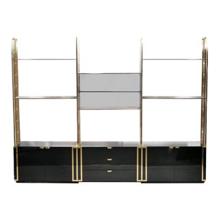 Rare Kim Moltzer French Lacquer and Brass Shelves 1970s For Sale