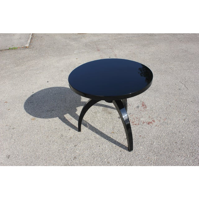 French Art Deco Black Lacquer ''Spider Leg'' Side Table - Image 5 of 10