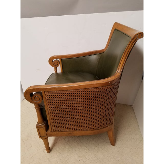 Neoclassical Style Olive Green Leather and Cane Fruitwood Armchair by Lexington Furniture - Image 3 of 7