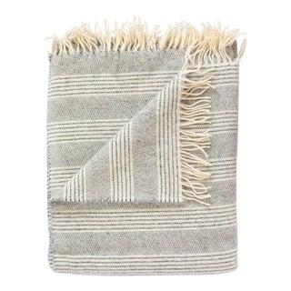 Alpaca & Merino Lambswool Throw in Stripe Graphite/Pearl For Sale