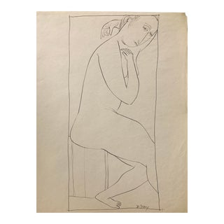 """Donald Stacy """"Hand Over Head Ii"""" 1951 Ink Drawing Mid Century Original For Sale"""