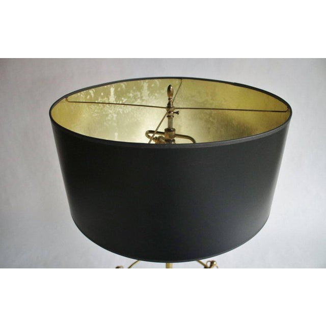 Brass Tripod Floor Lamp with Custom Shade For Sale - Image 4 of 5