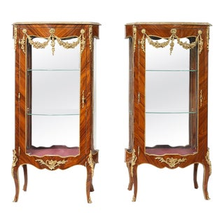 Louis XV Style Kingwood Veneered Vitrine - a Pair For Sale