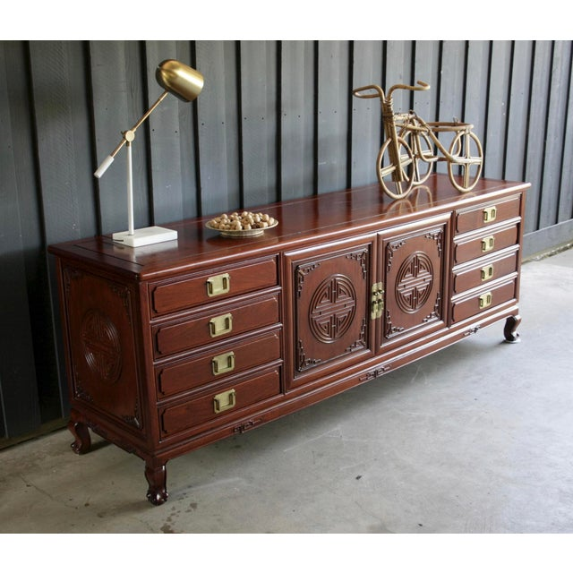 Asian Chinoiserie Rosewood Credenza With Brass Pulls For Sale - Image 3 of 11