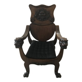 Vintage Hand Carved Turn of Century Lion Chair For Sale