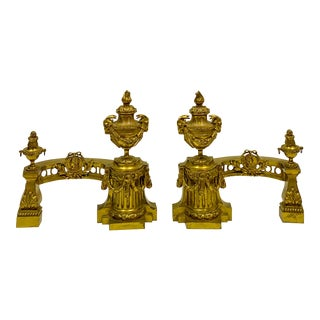 Early 20th- Set of Gilt Bronze French Neo-Classical Chenets - a Pair For Sale